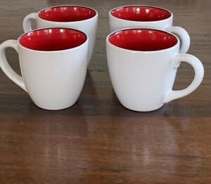 Set of Four Crate & Barrel White Ceramic Porcelain Mugs with Red Interior