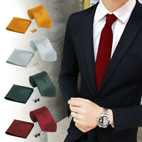 Mens Cufflinks Tie Handkerchief Set Neck Tie Pocket Square Hanky Wedding Skinny