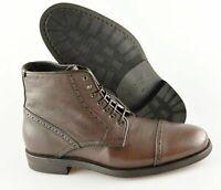Men's AQUATALIA 'Carter' Brown Leather Cap Toe Boots Size US 11 - D