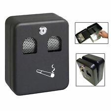 Wall Mounted Metal Coated Lockable Outdoor Ashtray Cigarette Ash Bin with Lock