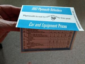 Mopar 1967 Plymouth Belvedere Satellite GTX FACTORY Codes / Prices / Options 440