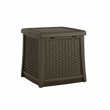 Suncast Elements 13 Gallon Backyard Patio End Table with Built In Storage, Java