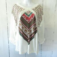 New Umgee Top L Large Ivory Floral Scarf Print Crochet Lace Boho Peasant Ruffle