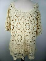 Denim 24/7 Crochet Top Size 1X/2X Ivory/Cream Doily Open Knit