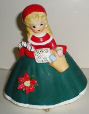 VINTAGE CHRISTMAS CERAMIC INARCO SHOPPER GIRL PLANTER W/ PRESENTS & MUFF -1963
