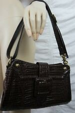 MISS M dark brown faux leather textured medium shoulder handbag NWOT