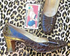 Chic 1950s Women Pumps~ Luxurious Brown Alligator ~Made In Usa~Mint Vintage~9 A