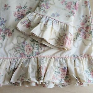 Vintage JC Penny Full Flat Sheet 2 Pillowcases Floral Ruffle Lace Cottage Core