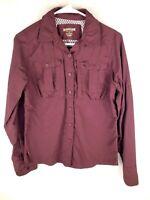 Womens Magellan Outdoors Adventure Gear Maroon Long Sleeve Shirt Size S