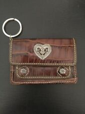 """Brighton Brown Croc Print ID Card Holder Key Ring Leather Small Wallet 4"""" x 2.5"""""""