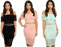 Ladies Womens Summer Floral Lace Two Piece Crop Top & Skirt Set Size 8 10 12