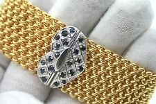 """VINTAGE LADIES 18K YELLOW & WHITE GOLD BRACELET WITH SAPPHIRES 26mm WIDE 7 1/4"""""""