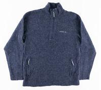 Merrell Mens Large 1/4 Zip Pullover Sweater Jacket Wool Look Blue