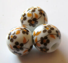 25pcs 12mm Round Porcelain/Ceramic Beads - White / Brown Oriental Flowers