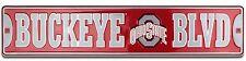 "Ohio State BUCKEYE BLVD 24"" x 5"" Embossed Metal Street Sign"