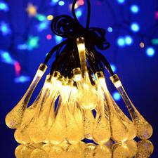 Solar 20 LED Lichterkette Tropfen für Garten Balkon  Pulsieren Funkeln Blitzen