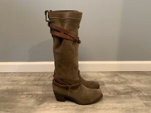 FRYE 76395 Jane Strappy Women's Knee High Suede Leather Buckle Boots Size 7.5 B