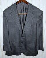 $7995 KITON Gray Blue Plaid 100% Cashmere 3/2 Roll Blazer Jacket IT 56 / US 46 R