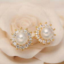 Fashion Women Elegant Floral Flower Pearl Crystal Rhinestone Ear Stud Earrings