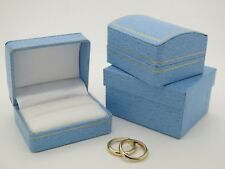 Bride & Groom Ring Box Pale Blue Gold Gilt Trim Double Wedding Ring Bearer Box