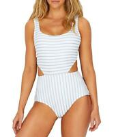 Anne Cole BLUE Studio Striped Textured Sexy One Piece Swimsuit, US 12
