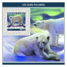 Djibouti 2018 MNH Polar Bears 1v S/S Bears Mammals Wild Animals Stamps