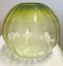 Beautiful Victorian Oil Lamp shade. Etched design, green glass.