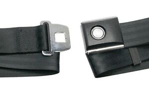 New! Black Seat Belt Deluxe Mustang Falcon Cougar Push Button Price is Each