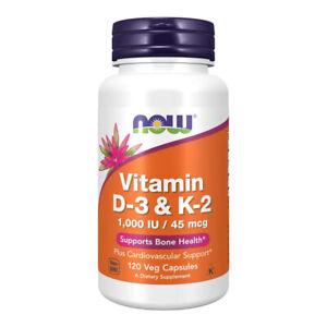 NOW FOODS Vitamin D-3 & K-2 1,000IU 120 vcapsule