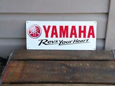 YAMAHA MOTORCYCLE Revs your Heart GARAGE ART DECOR METAL SIGN 5x12 50061 RED
