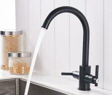 Deck Mounted Kitchen Sink Faucet Swivel Spout Mixer 2 Handles Black Polished Tap