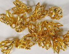60 Gold Plated Bead Caps Bell Caps 6x9mm Expandable New in Sealed Bag A2