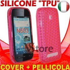 Cover Custodia Silicone Gel TPU Fucsia Per Nokia 603 + Pellicola Salva Schermo