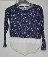 A PRIMARK YD BLUE FLORAL LONG SLEEVE FAUX LAYER TOP AGE 9/10