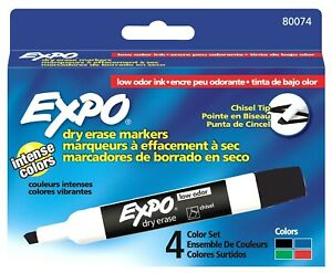 80074 Expo Low Odor Dry Erase Whiteboard Marker, Chisel Tip, 2 Packs of 4 Colors