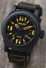 Lum-Tec Watch Abyss 600M-4 Automatic Mens Diver Black Leather Strap Water Resist