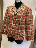 Vintage Pendleton 100%Pure Wool Rust Gold Plaid Blazer Jacket Women's Sz 14