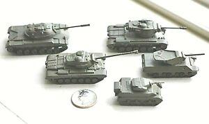 5 vintage lead metal Comet Authenticast WWII era US Miltary tanks lot1 near HO