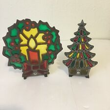 Vintage Cast Iron Stain Glass Candle Holder Christmas Tree Wreath Candle *Flaws*