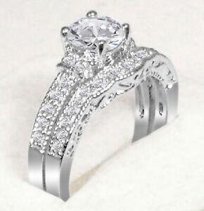 "2Ct Brilliant Round Cut Engagement Ring Wedding Set 14K White Gold Over Size""7"""