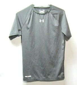 Under Armour Boys Youth Large Gray Athletic Compression Shirt Dry Fit Heat Gear