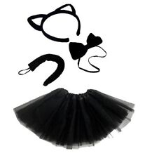 BLACK CAT Fancy Dress  Costume tutu Ears tail and bow tie Accessory Set Animal
