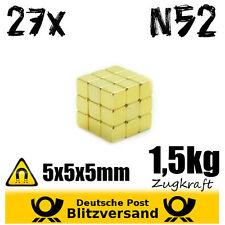 27x Neodym Magnet 5x5x5mm vergoldet - Pinnwandmagnete Bastelmagnete Notizmagnete