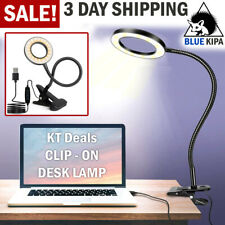 Clip On Desk Lamp LED Flexible Arm USB Dimmable Study...