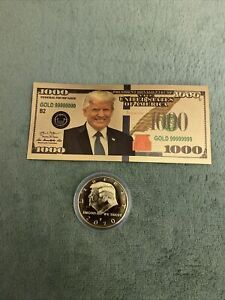 2020 Donald J. Trump Commemorative 45th President Novelty Coun And $1000 Bill