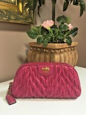 Coach Madison Chevron Nylon Cosmetic Case 46592 Fuchsia Pink M4