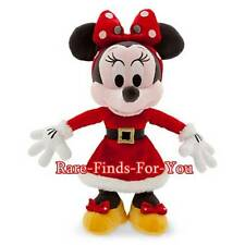 "Disney Parks Santa Minnie Mouse Christmas Holiday 9"" H Plush Doll Toy (NEW)"