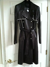 Chanel 09A NEW BLACK LEATHER COAT PEARL Trim PEARL Buttons BELT FR36- FR40 $16K