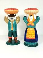 Clay Art Man Woman Taper Candle Holders Country Farmer Hand Painted Vintage