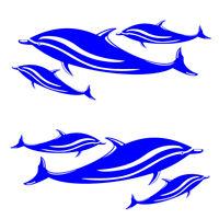 6 decalcomanie a forma di delfino / 2 decalcomanie a fogli mobili per barche